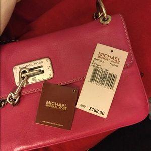 Michael Kors Leather Hot Pink Chain/ Lock Handbag